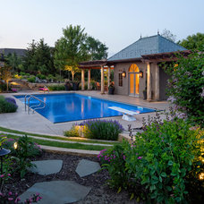 Transitional Pool by BellaWood Builders