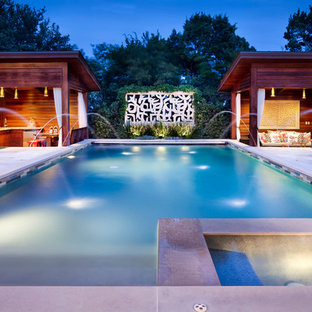 Inspiration for a contemporary rectangular pool remodel in Austin