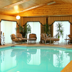 Cornice with Window Treatments - Cornice with Panels in Pool area with light sheer for privacy.