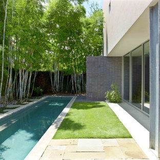 Inspiration for a modern lap pool remodel in Houston
