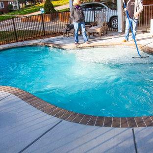Foto de piscina natural, de estilo americano, pequeña, a medida, en patio trasero, con entablado