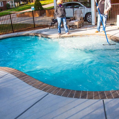 Example of a small arts and crafts backyard custom-shaped natural pool design in Charlotte with decking