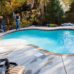 Imagen de piscina natural, de estilo americano, pequeña, a medida, en patio trasero, con entablado