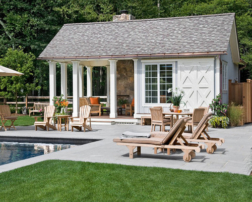 Farmhouse pool design ideas remodels photos for Pool house plans