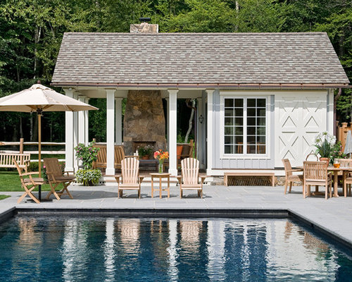 Charming Design Ideas For A Country Rectangular Swimming Pool In New York With A Pool  House And