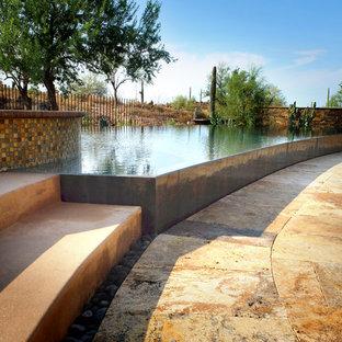 Ejemplo de piscinas y jacuzzis infinitos, de estilo americano, extra grandes, a medida, en patio trasero, con adoquines de piedra natural