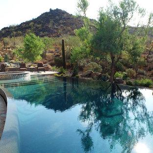 Immagine di un'ampia piscina a sfioro infinito american style personalizzata dietro casa con una vasca idromassaggio e pavimentazioni in pietra naturale