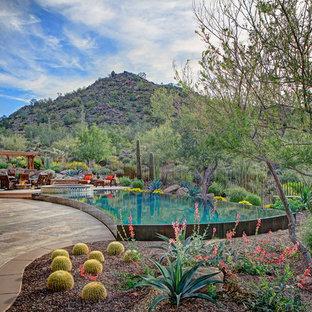 Imagen de piscinas y jacuzzis infinitos, de estilo americano, a medida, en patio trasero