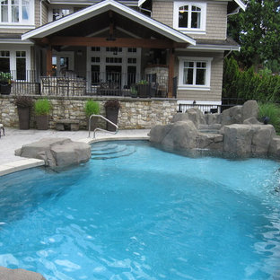 Custom Backyard with Pool, Hot Tub and Waterfall