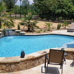 "Foto di una piscina naturale tropicale a ""C"" di medie dimensioni e dietro casa con pedane e fontane"