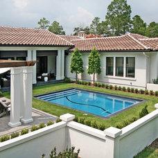 Mediterranean Pool by Corner Lot Custom Homes