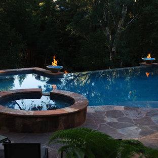 Diseño de piscina con fuente infinita, ecléctica, de tamaño medio, rectangular, en patio trasero, con entablado