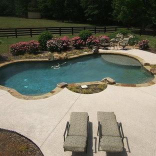 Diseño de piscina clásica, de tamaño medio, a medida, en patio trasero, con losas de hormigón