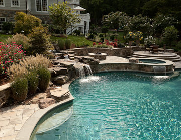 Custom Pool with Water Feature & Spa