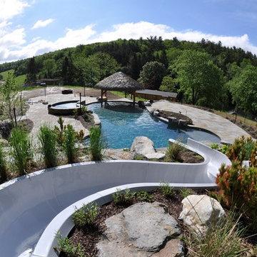 Custom salt water pool with waterslide