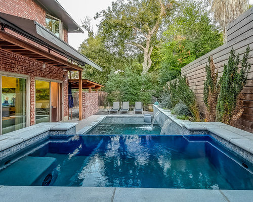 Hot Tub   Mid Sized Transitional Backyard Rectangular And Concrete Infinity  Hot Tub Idea In