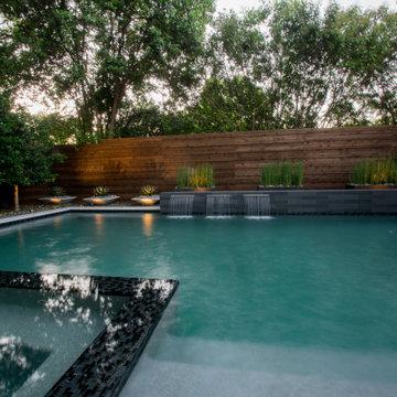 Dallas Small Modern Pool, Flush Spa with Safety Fence