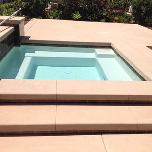 Small modern backyard custom-shaped pool in San Diego with a hot tub and concrete slab.