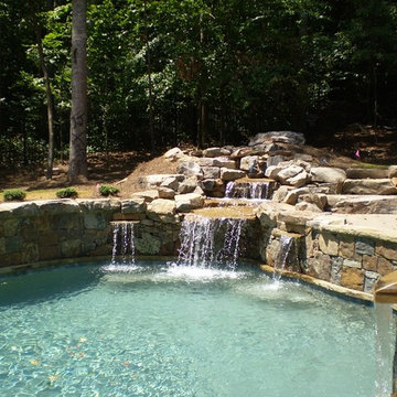 Denali Natural Stone Veneer Pool and Waterfall
