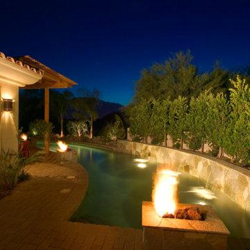 Desert Hideaway lap pool at night