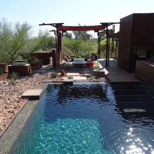 Foto de piscina natural, industrial, grande, rectangular, en patio trasero