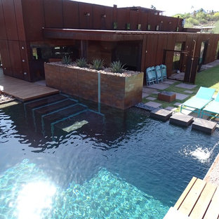 フェニックスの大きい長方形インダストリアルスタイルのおしゃれなプールの写真