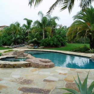 Modelo de piscinas y jacuzzis naturales, mediterráneos, grandes, tipo riñón, en patio trasero, con adoquines de piedra natural
