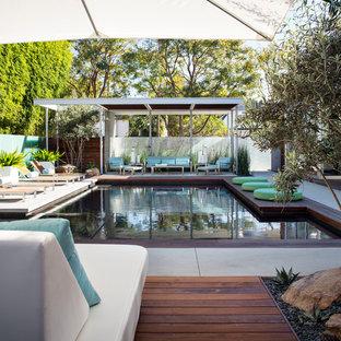Imagen de piscinas y jacuzzis actuales, grandes, rectangulares, en patio trasero, con losas de hormigón