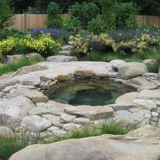 Esempio di una piscina naturale rustica