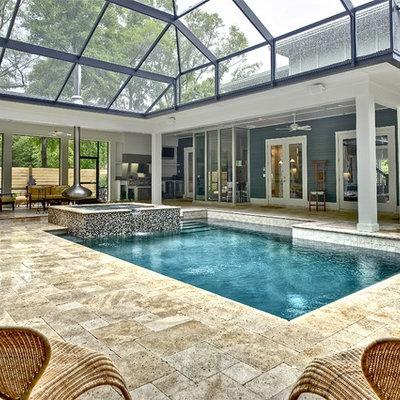 Trendy indoor pool photo in Miami
