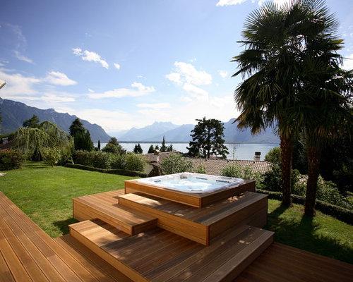 Hot tub deck houzz - Piscine hors sol tole ...