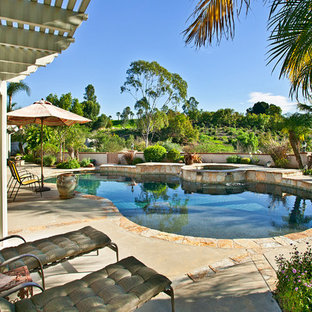 Hot tub - large traditional backyard concrete and kidney-shaped hot tub idea in San Diego