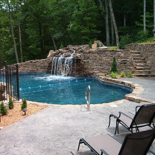 Pool fountain - large rustic backyard stamped concrete and custom-shaped natural pool fountain idea in Other