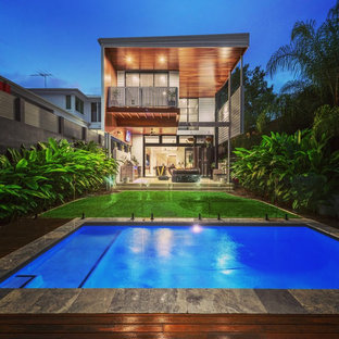 This is an example of a tropical rectangular lap pool in Brisbane.