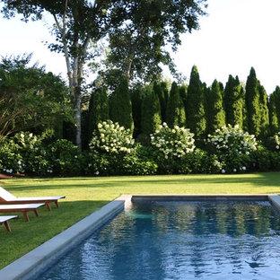 Elegant backyard stone and rectangular lap pool photo in New York