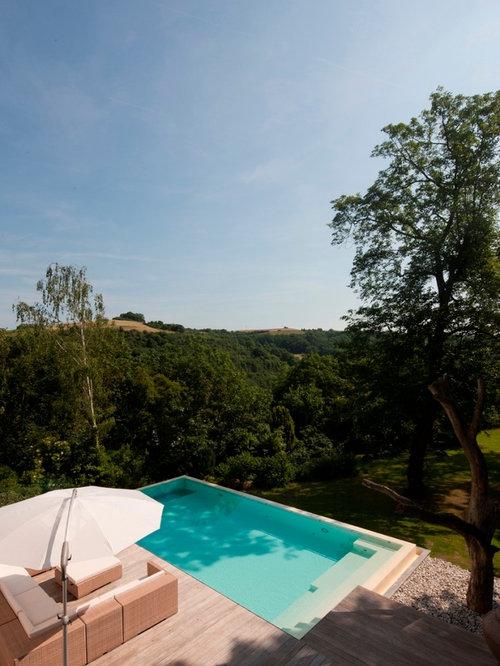 Mediterraner pool mit dielen ideen design bilder houzz - Rechteckiger pool ...