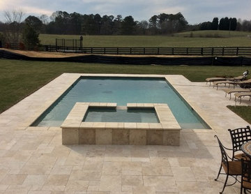 Elegant Rectangle Pool and Spa with Travertine