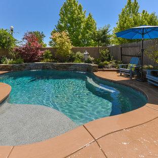 Modelo de piscina con fuente tropical, de tamaño medio, a medida, en patio trasero, con adoquines de piedra natural