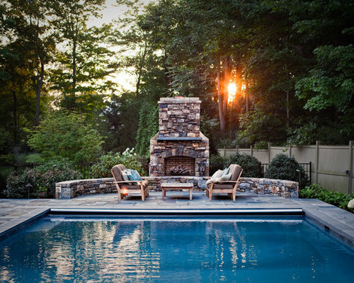 Pool with outdoor fireplace houzz for Pool with fireplace
