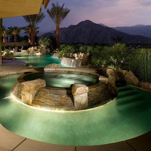 Tropical Backyard With Lazy River Pool Houzz