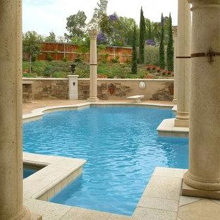 Foto de piscina con fuente natural, retro, grande, a medida, en patio trasero, con adoquines de piedra natural