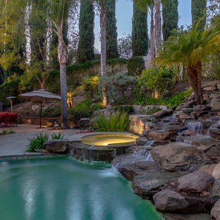 Inspiration for a large tropical backyard stone and kidney-shaped natural pool fountain remodel in Los Angeles
