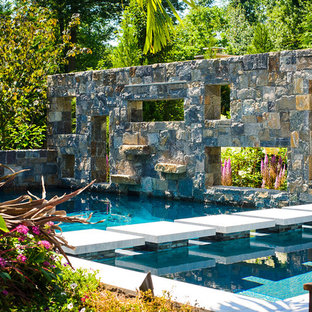 This is an example of a country backyard pool in New York.