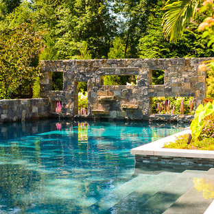 Inspiration for a small country backyard l-shaped pool in New York.