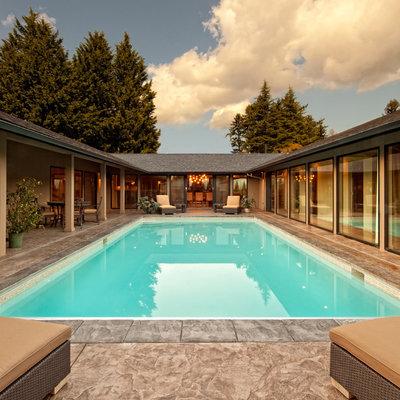 Pool - contemporary courtyard rectangular pool idea in Portland