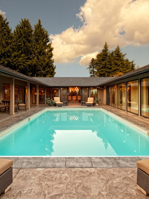 Contemporary courtyard rectangular pool idea in Portland