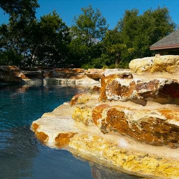 Fair Oaks Ranch, Texas Natural Pool, Spa, Pool House and Pool Deck