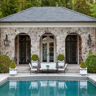 Inspiration for a timeless rectangular pool house remodel in Atlanta