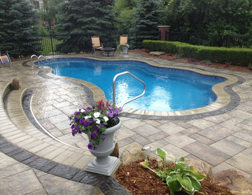 Fiberglass Pool with Hardscape