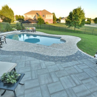 Fiberglass Pool with Paver Pool Deck and Water Feature, Frankfort, IL